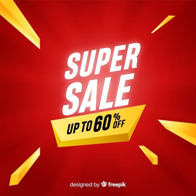 Creatief super verkoopbannerconcept Gratis Vector