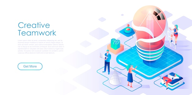 Creatief teamwerk isometrische bestemmingspagina sjabloon Premium Vector