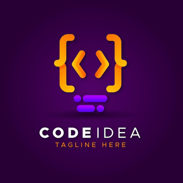 Creatief verloopcode logo Gratis Vector