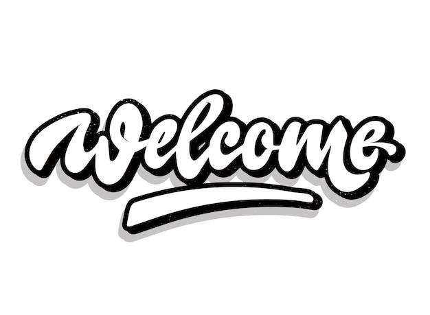 Creatief 'welkom' handschriftcitaat Premium Vector