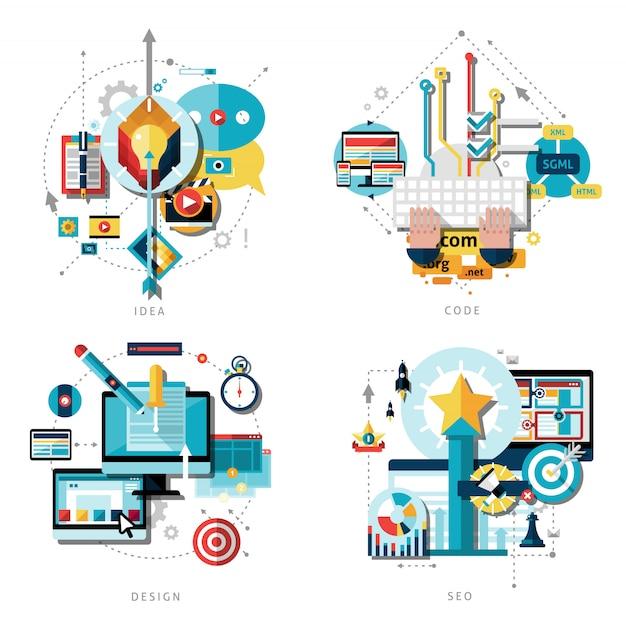 Creatief werk icons set Gratis Vector
