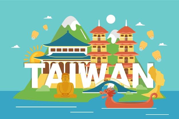 Creatief woord van taiwan met bezienswaardigheden Gratis Vector