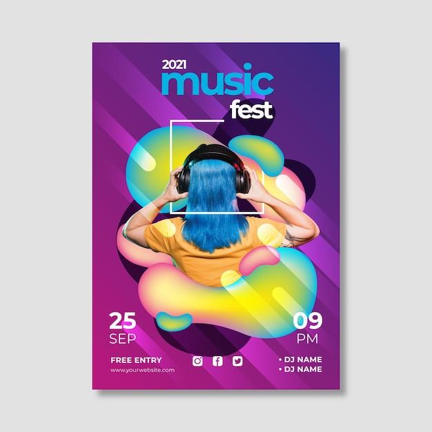 Creatieve 2021 muziekevenementposter Gratis Vector