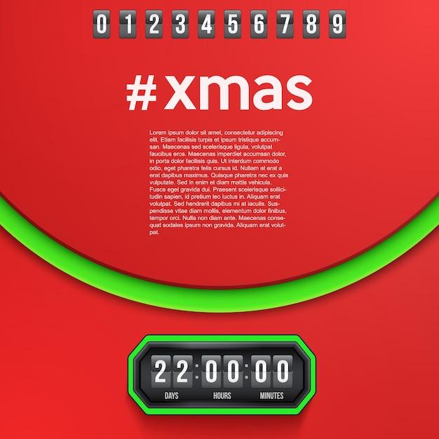 Creatieve achtergrond merry christmas coming soon en afteltimer met cijfervoorbeelden. Premium Vector