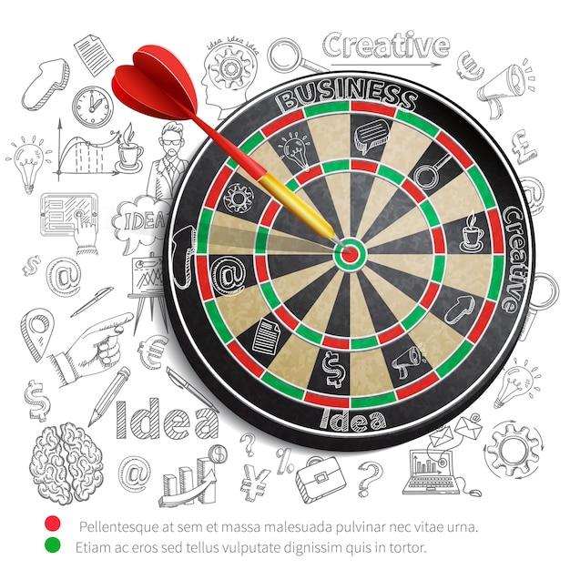 Creatieve achtergrond met dartbord Gratis Vector