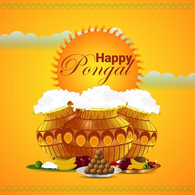 Creatieve achtergrond voor gelukkig pongal-festival van zuid-indisch tamil nadu Premium Vector