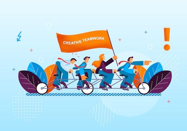 Creatieve activiteit kantoorwerkers leiden tot succes Premium Vector