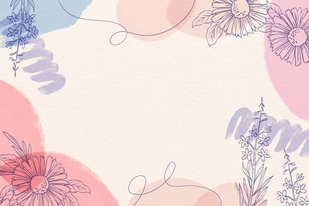 Creatieve aquarel achtergrond met getekende bloemen Gratis Vector