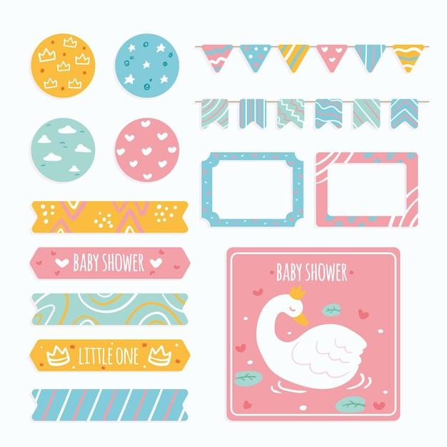 Creatieve baby shower-plakboekset Gratis Vector