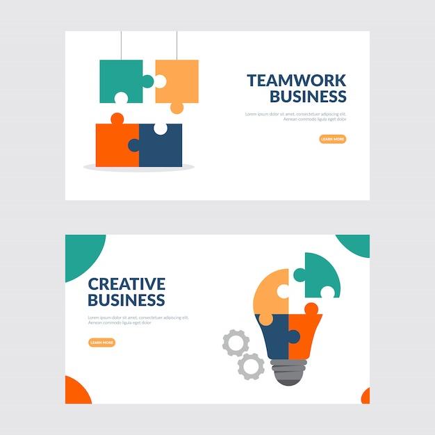 Creatieve bedrijfs en groepswerkillustratie Premium Vector