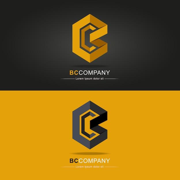Creatieve brief bc logo vector ontwerpsjabloon. bc letter logo icon origami pattern desig Premium Vector