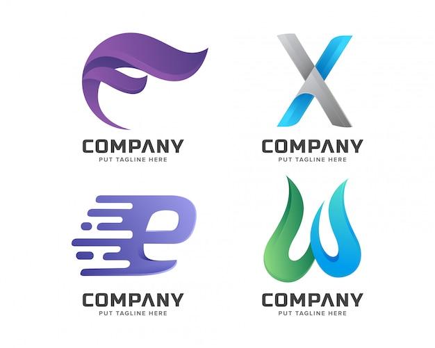 Creatieve brief eerste logo collectie Premium Vector