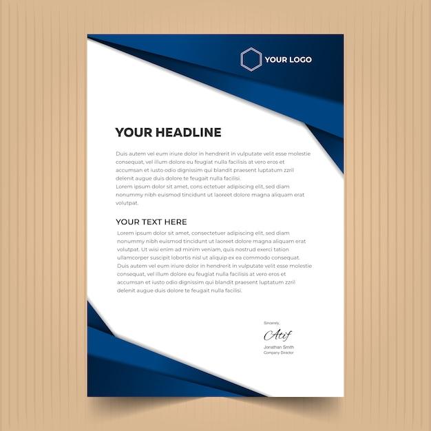 Creatieve briefhoofd ontwerpsjabloon met donkerblauwe kleuren Premium Vector