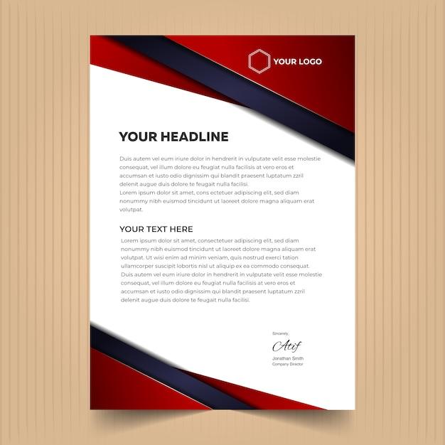 Creatieve briefhoofd ontwerpsjabloon Premium Vector