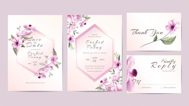 Creatieve bruiloft uitnodiging sjabloon set met roze bloemen Premium Vector