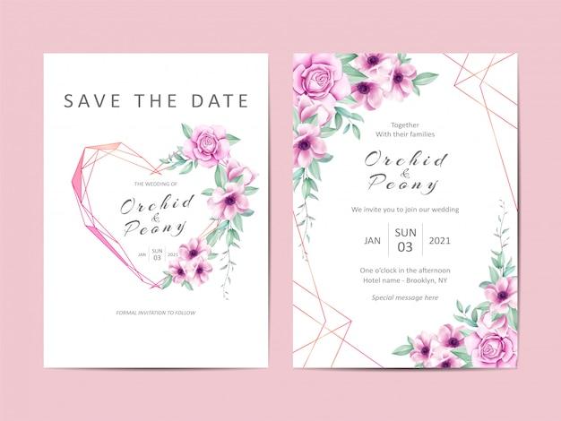Creatieve bruiloft uitnodiging sjabloon set van aquarel bloemen Premium Vector