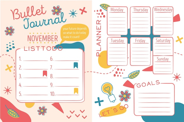 Creatieve bullet journal planner-collectie Gratis Vector