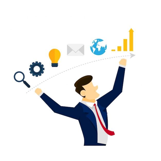 Creatieve business strategy idee illustratie concept Gratis Vector