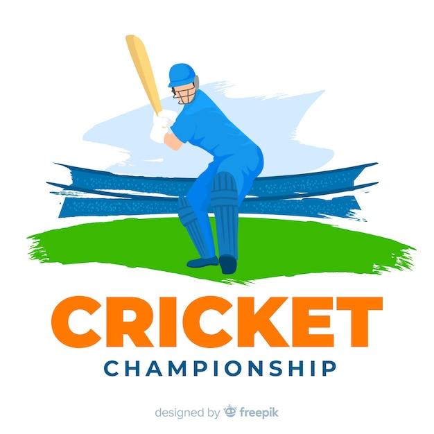 Creatieve cricket kampioenschap achtergrond Gratis Vector