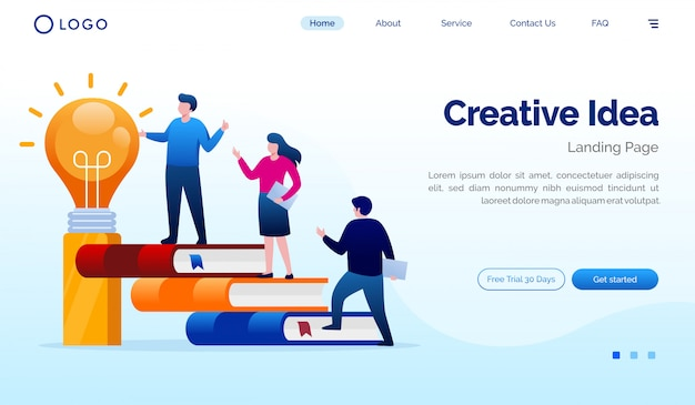 Creatieve de websiteillustratie van de idee landende pagina Premium Vector