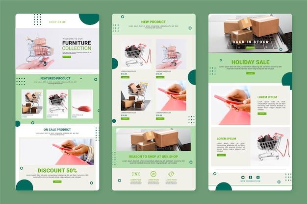 Creatieve e-commerce e-mailsjabloon met foto's Premium Vector