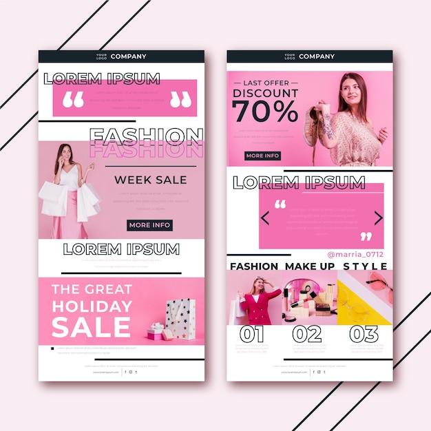 Creatieve e-commerce e-mailsjabloon met fotopakket Premium Vector