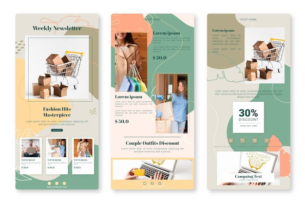 Creatieve e-commerce e-mailsjabloon Premium Vector