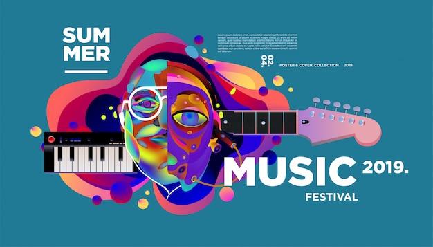 Creatieve en kleurrijke muziek festival poster sjabloon Premium Vector