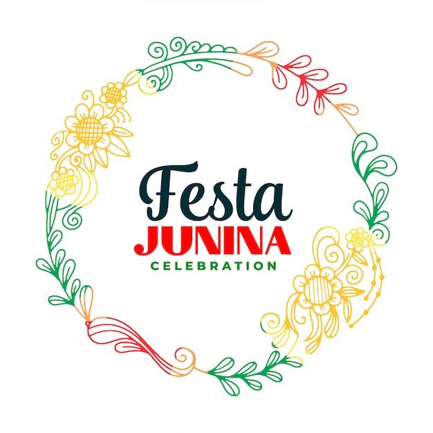 Creatieve festa junina bladeren en bloem frame achtergrond Gratis Vector
