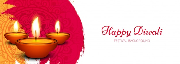 Creatieve gelukkige diwali-vieringbanner Gratis Vector