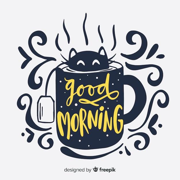 Creatieve goedemorgen belettering achtergrond Gratis Vector