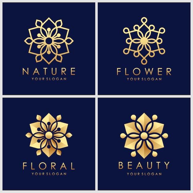 Creatieve gouden bloemlogo-ontwerpen met lijnstijl. Premium Vector