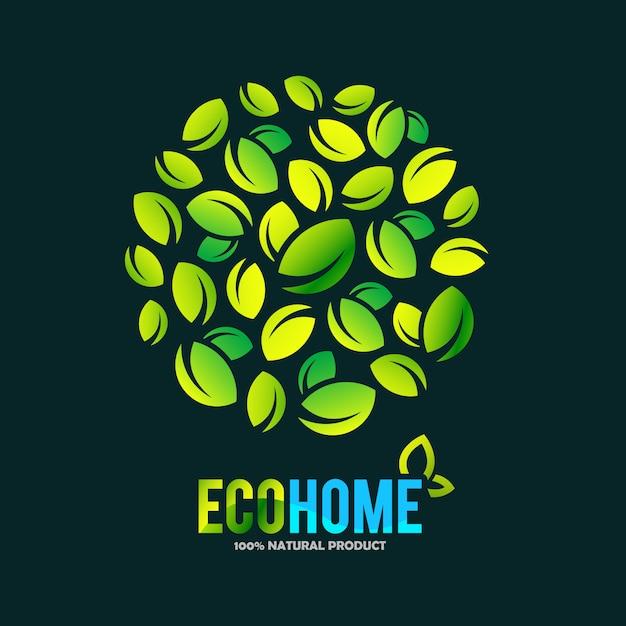Creatieve groen huis concept logo sjabloon Gratis Vector