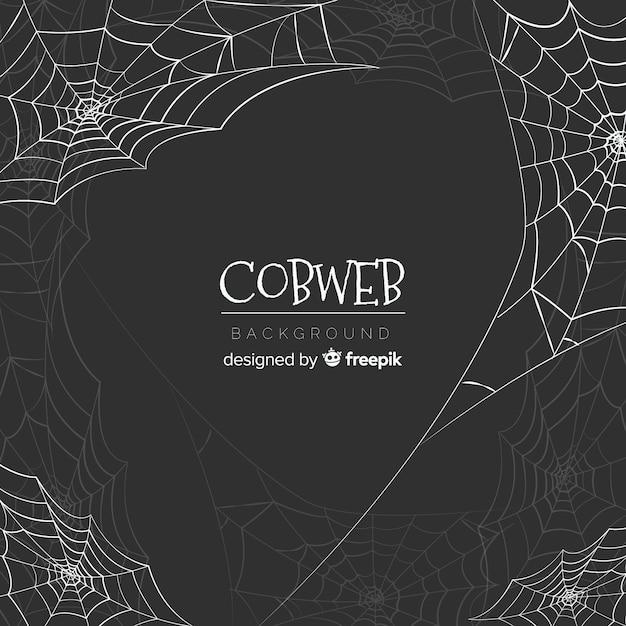 Creatieve halloween-spinnewebachtergrond Gratis Vector