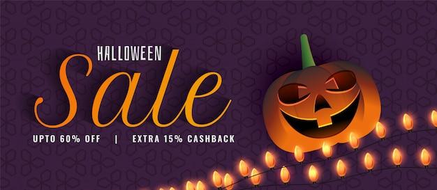 Creatieve halloween-verkoopbanner met pompoen Gratis Vector