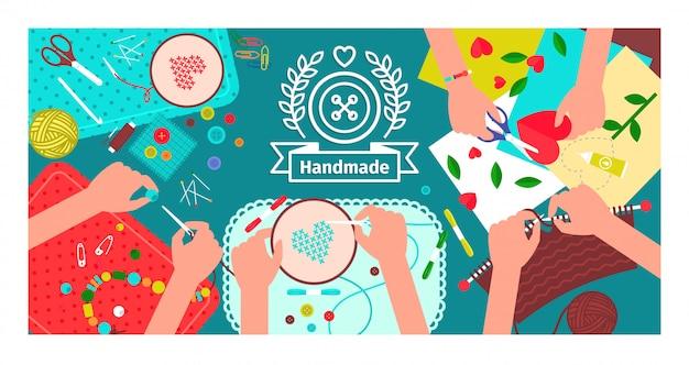 Creatieve handgemaakte workshopbanner Premium Vector