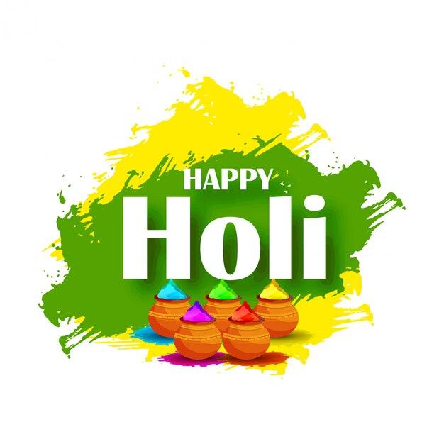 Creatieve illustratie van happy holi-poster Premium Vector