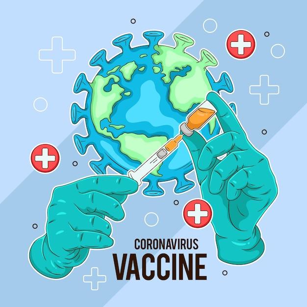 Creatieve illustratie van het coronavirusvaccin Gratis Vector