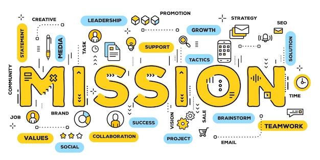Creatieve illustratie van missie gele woordtypografie met lijnpictogrammen en tagwolk Premium Vector