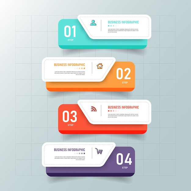 Creatieve infographic 4 stappen sjabloon Premium Vector