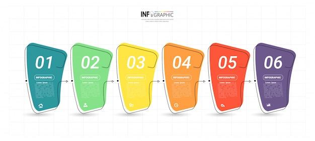 Creatieve infographic 6 stappen sjabloon Premium Vector