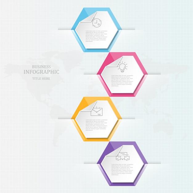 Creatieve infographic en sjabloon, 4 opties. Premium Vector