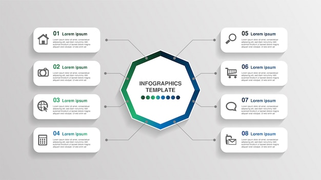 Creatieve infographic sjabloon, 8 rechthoek tekstvakken met pictogrammen. Premium Vector
