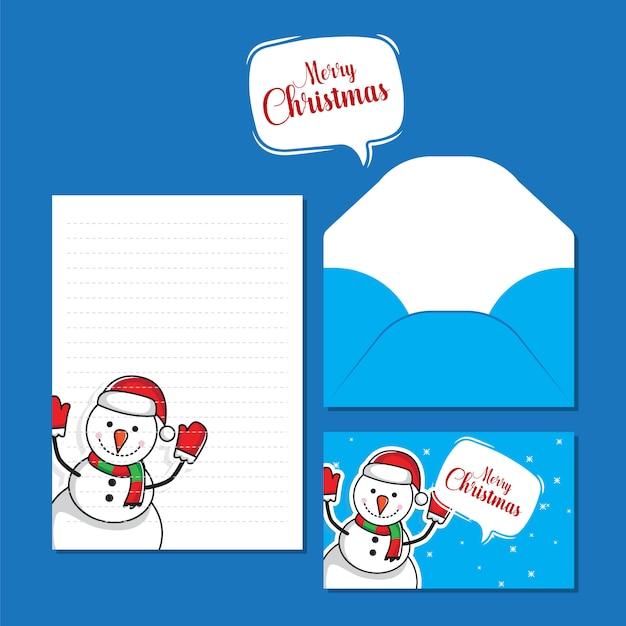 Creatieve kerst brief en envelop sjabloon Premium Vector