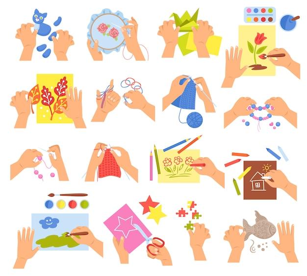 Creatieve kinderen handen breien borduren vouwen origami maken zelfgemaakte kralen armband tekening kleuren Gratis Vector
