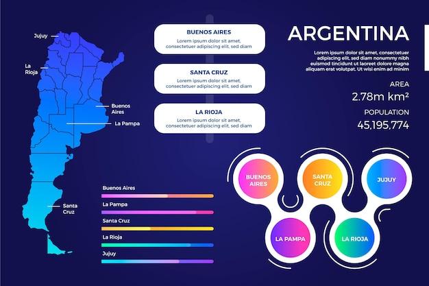 Creatieve kleurovergang argentinië kaart infographic Gratis Vector