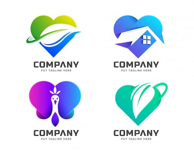 Creatieve kleurrijke liefde logo-collectie Premium Vector