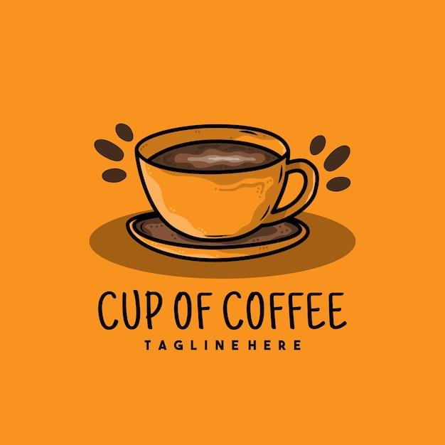 Creatieve kopje koffie illustratie logo ontwerp Premium Vector