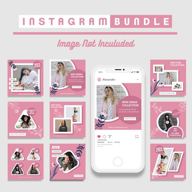 Creatieve korting instagram berichtsjabloon Premium Vector