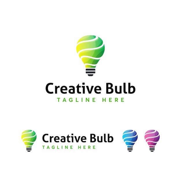 Creatieve lamp logo sjabloon Premium Vector